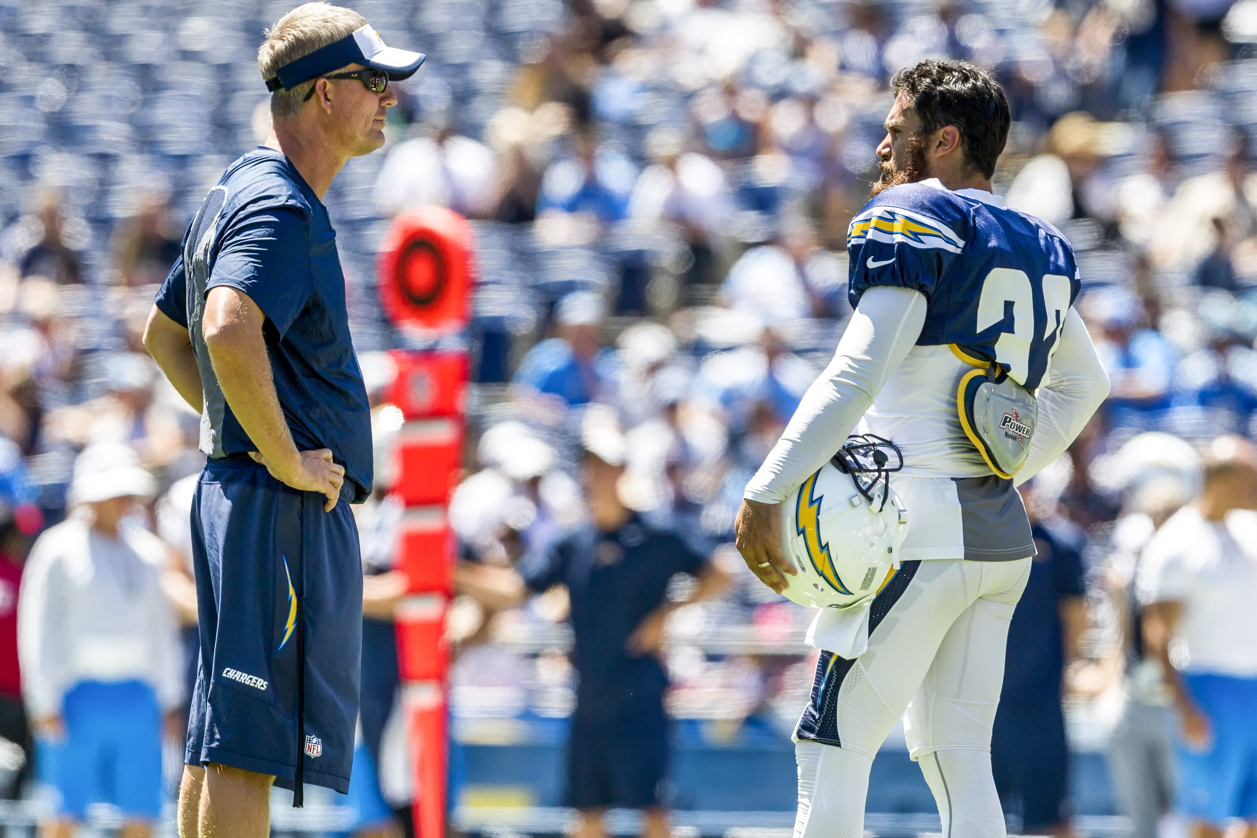 San Diego Chargers head coach Mike McCoy, left, and free safety Eric Weddle during Fan Fest 2015. Photo by Bill Reilly
