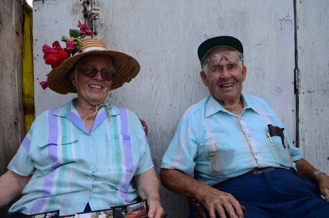 Emily and Eugene Chappee sit in front of their Leucadia home on the Coast Highway 101. Eugene has lived in Leucadia since 1946. Photo by Tony Cagala