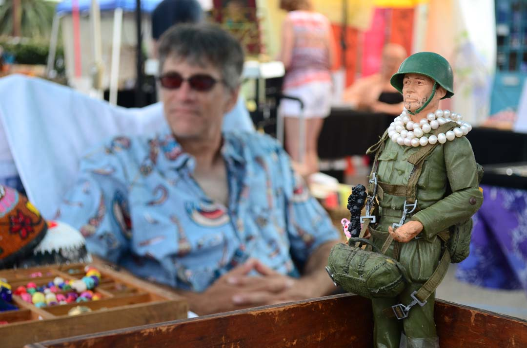 Stonewall Stoney Smith stands guard at an exhibitor's booth at the Art Walk on Sunday. Photo by Tony Cagala