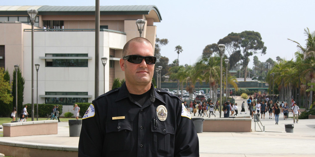 School Resource Officer Justin Romano is stationed at Oceanside High School. Officers have been on Oceanside school campuses for 25 years. Photo by Promise Yee