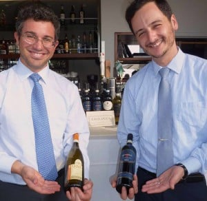 Stefano Poggi, left, presents the wines of Benni di Batasiolo to Il Fornaio manager Mathew Galli. Photo by Frank Mangio