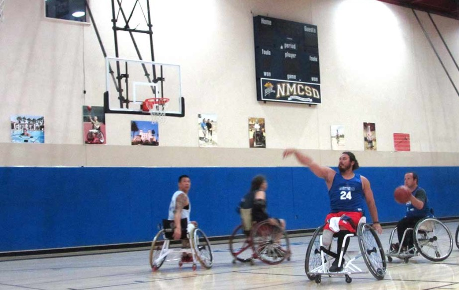 Wheelchair basketball players at the Navy Medical Center San Diego make up the only all-military team in the country.  Photo by Ellen Wright