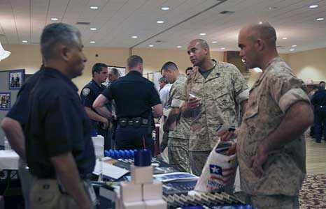 Military members seek job opportunities during a job fair hosted by Patriotic Hearts. The organization is holding its next job fair from 11 a.m. to 3 p.m. Sept. 11 at the San Diego Military Events Center, across from Marine Corps Air Station Miramar, at 9323 Activity Road.  Courtesy photo