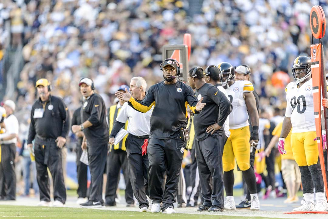 Pittsburgh Steelers head coach Mike Tomlin gets animated on the sidelines. Photo by Bill Reilly