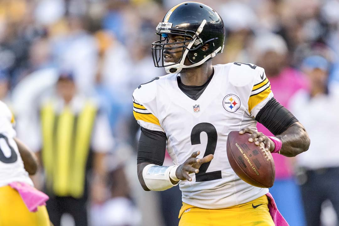 Pittsburgh Steelers quarterback Mike Vick looks downfield for an open receiver during Monday night's game at Qualcomm stadium. Photo by Bill Reilly