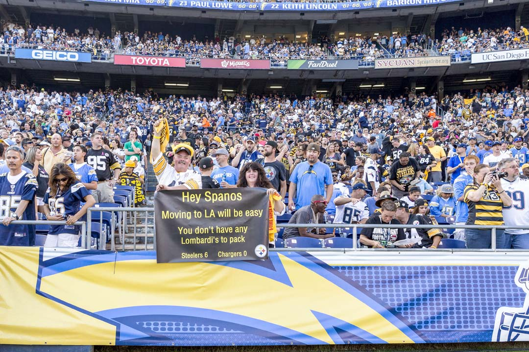 Pittsburgh Steelers fans send a message to the Spanos family regarding the San Diego Chargers pending move to LA. Photo by Bill Reilly