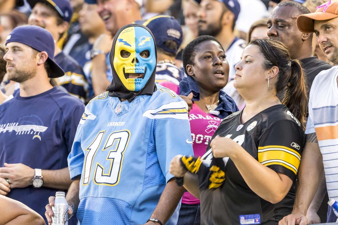 San Diego Chargers fans show their support for the team during a Monday night game with the Pittsburgh Steelers. Photo by Bill Reilly