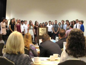 """Choir students sing a rendition of """"Stand By Me"""" during the second annual Carlsbad Unified School District's State of the District on Thursday at the Sheraton Hotel. Photo by Steve Puterski"""