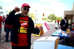 David Avalos, a professor of visual arts at Cal State San Marcos, casts his ballot during a strike authorization vote on Tuesday. Photo by Tony Cagala