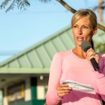 Encinitas Mayor Kristin Gaspar provides some words of encouragement to all of the participants of the Encinitas Turkey Trot. Photo by Bill Reilly