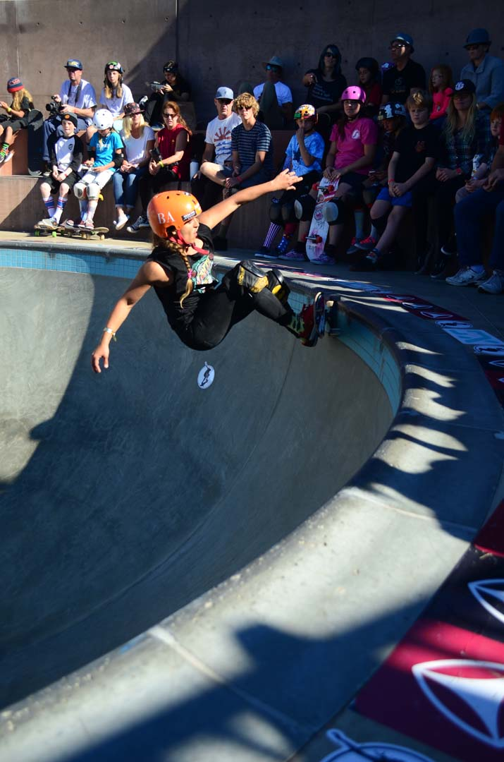A skater competes in the bowl at the Encinitas Community Park's skate park. Photo by Tony Cagala