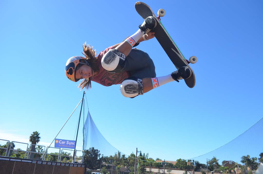 Hunter Long gives the vert ramp a trial run before competition. She placed fourth in pro vert contest. Photo by Tony Cagala