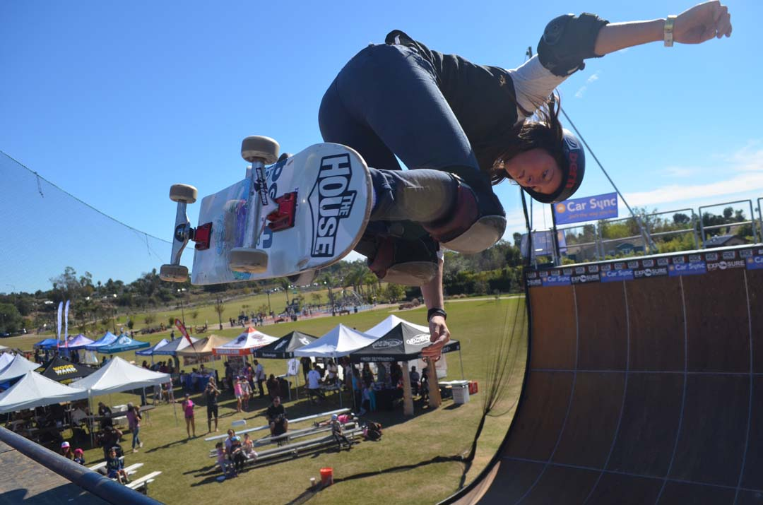 Professional skater Nicole Hause on the vert ramp. Photo by tony Cagala