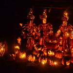 Three witches, constructed of hand-carved pumpkins, attend their caldron during the annual Great Jack O'Lantern Blaze at Croton-on-Hudson, N.Y. The Blaze is the premier autumn/Halloween event in the Hudson Valley and the Sleepy Hollow area, which takes advantage of its history to draw thousands of visitors during this time of year.