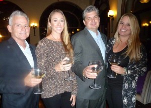 From left: Ste Michelle Wine Estate representatives Kyle Twitchell and Lindsay Applebaum with Southern Wine & Spirits representatives Jeff McIntyre and Amanda Brandlin at La Gran Terrazza's Stag's Leap event. Photo by Frank Mangio
