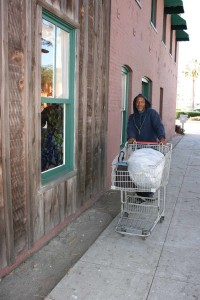 A homeless man walks Oceanside streets. There are as estimated 420 homeless in Oceanside. Photo by Promise Yee
