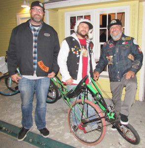 Chad Majer, left, Nick Evans, middle, and T. Flores will ride through Carlsbad on Saturday collecting toys as part of their bicycle clubs' community drive. The ride is open all ages and begins at noon at the Stag and Lion on Tamarack Avenue.