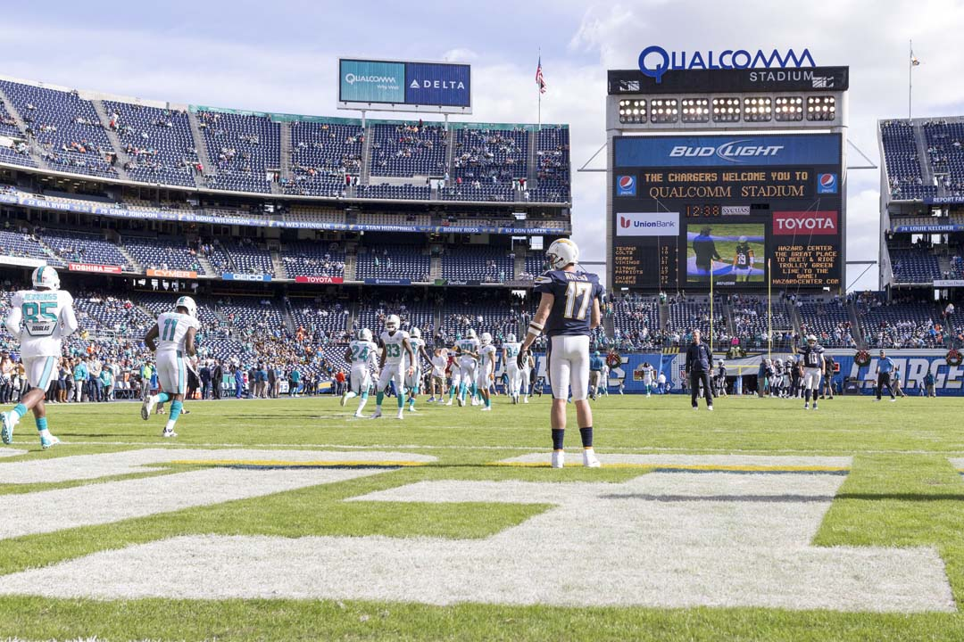 Chargers quarterback Philip Rivers stands in the endzone before Sunday's game against the Miami Dolphins. Photo by Bill Reilly