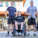 From left: Matthew Reeve, Jon Atwater, and SEALFIT Founder and CEO Mark Divine kick off the Reeve WOD on camera to the thousands participating in the workout around the globe. Photo by Bill Reilly