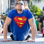 A participant in the Reeve WOD wears a superman shirt in honor of the late Christopher Reeve. Photo by Bill Reilly