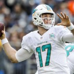 Miami Dolphins quarterback Ryan Tannehill (17) throws downfield in a game against the San Diego Chargers at Qualcomm Stadium. Photo by Bill Reilly