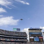 A U.S. Air Force Boeing C -17 from March Air Force Base Riverside, Calif. conducts a fly over during the National Anthem. Photo by Bill Reilly