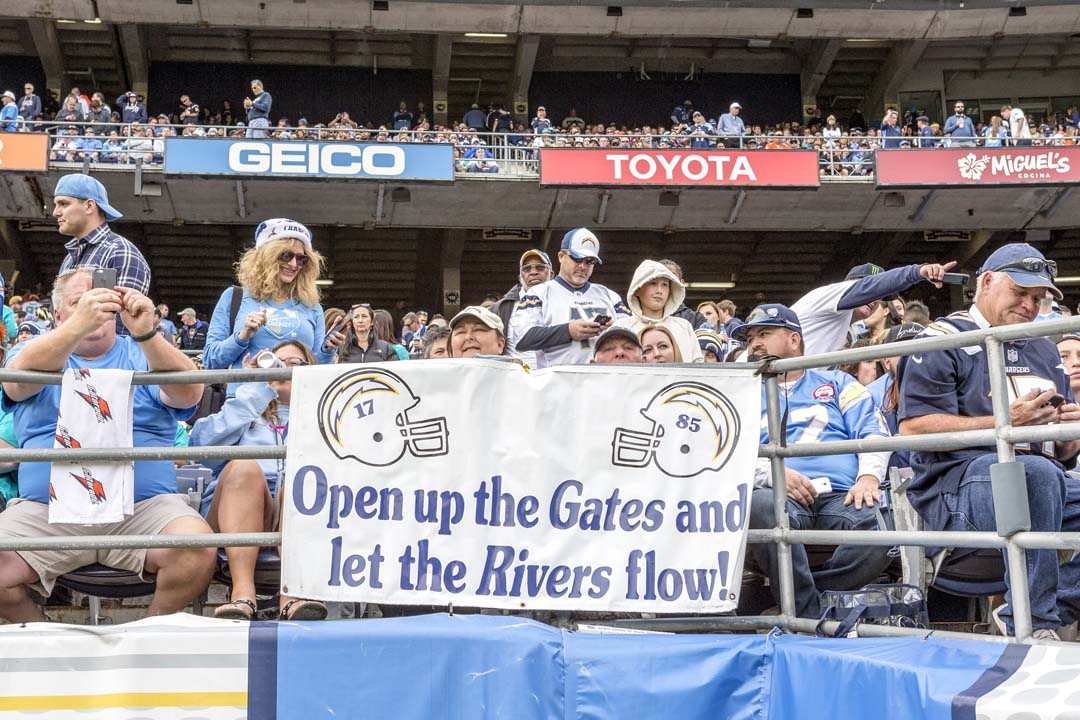 San Diego Chargers fans come out to support the team in what could have been the team's final game at Qualcomm Stadium. Photo by Bill Reilly