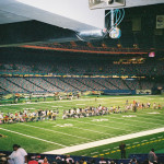 Refugees from Hurricane Katrina line up on the Superdome's football field to check in before the Category 5 storm hits New Orleans in late August 2005. These are residents and visitors who had no way of leaving the area. Photos by Paul Harris