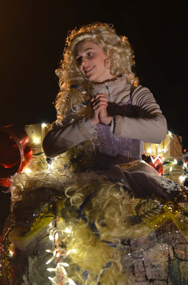 Rapunzel waits in her tower on one of the floats. Photo by Tony Cagala