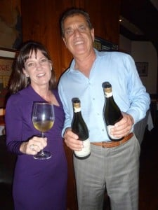 Mindy Hewitson, left, Pahlmeyer wine rep with Harry's Bar owner Garo Minassion. Photo by Frank Mangio