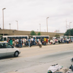This photo, taken Aug. 28, 2005, shows New Orleans residents waiting to get into the Superdome less than 24 hours before Hurricane Katrina hit the city. Most of the damage to the city was caused by levees that gave way, flooding the city.
