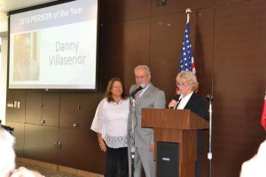 Vista Mayor Judy Ritter names Danny Villasenor as the 2015 Person of the Year as his wife, Linda, stands next to him. Danny Villasenor is the owner of Peppertree Frosty and serves as chairman for the Boys and Girls Club. Photo by Hoa Quach