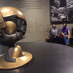 This is a small replica of The Sphere, a 25-foot-high metallic sculpture by German artist Fritz Koenig. The original sat in Austin J. Tobin Plaza (between the World Trade Center towers). The sculpture symbolizes world peace through world trade. The Sphere was buried in the rubble of the Twin Towers and was eventually relocated in its damaged state to nearby Battery Park.
