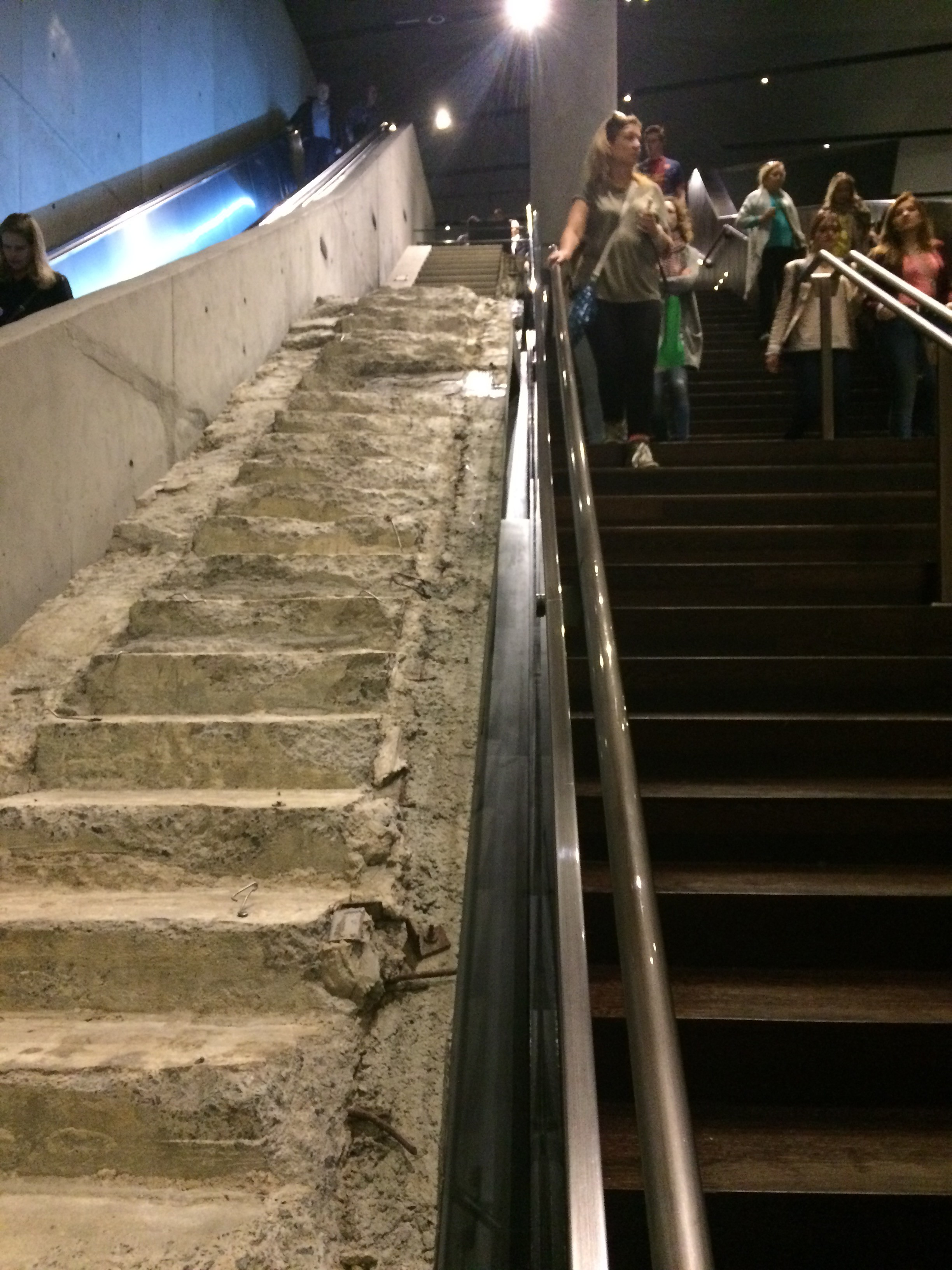 This outside stairway, which went from the World Trade Center Plaza to Vesey Street, provided a vital escape route for many who were working in the towers on Sept. 11, 2001. According to the museum guide, the stairs were in better shape immediately after the terror attacks, but suffered damage during the recovery period.