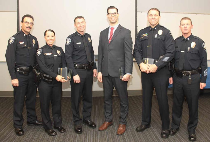 From left to right are Capt. Paul Mendes, officer Samantha Alexander, interim Police Chief Neil Galluci, network engineer Sean Reese, interim Lt. Kevin Lehan and Capt. Mickey Williams after honoring several members of the Carlsbad Police Department with awards on Feb. 4. Courtesy photo