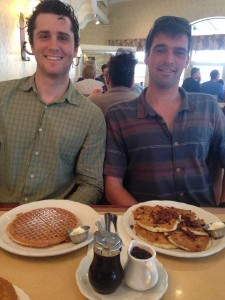 The hungry guys duo of Brooks and Quinn preparing to dig in to the best pancakes around at the Original Pancake House in Encinitas.  Photo by David Boylan