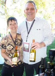 Marie Eve Gilla, the French educated winemaker for Forgeron wines, with sales manager Neil Maertens. Photo by Frank Mangio