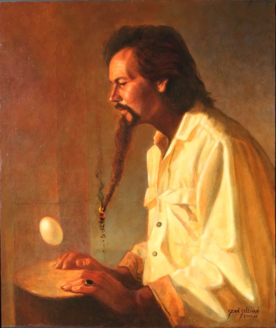 "Oil portrait of db Foster, painted by Sean Sullivan in 2001, depicts Foster during his ""bohemian hermit artist"" years"