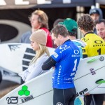 Competitors prepare to head out for Heat 1 of the Oakley Surf Shop Challenge held at Seaside Reef in Cardiff on Friday. Photo by Bill Reilly