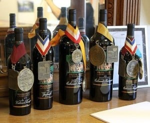 Frank Family of Napa Valley displays some of their award winning wines, including the 2013 Pinot Noir. Photo by Frank Mangio