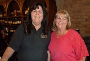 Valerie Andrews, left, owner of the only mined wine cave in Southern California, with Wendy Evers, executive Director of program development at Cal State University San Marcos. Photo by Frank Mangio