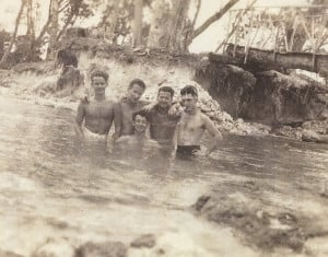 Walt Travis of Carlsbad, left, and members of his Marines unit gather after bathing in the Matanikau River on the Solomon Island of Guadalcanal. Travis later learned the river was infested with alligators. Courtesy photo