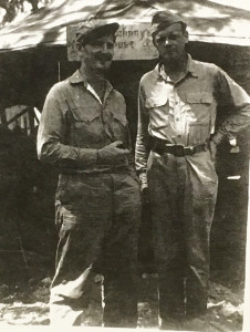 Marine Capt. Joe Foss, left, and Charles Lindbergh pose for a photo during World War II. Foss was Carlsbad resident Walt Travis' commanding officer during their time on the Solomon Island of Guadalcanal. Courtesy photo