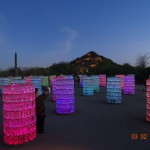 This installation, called Water Towers, includes 20 6-foot towers. Each structure contains 216 recycled plastic bottles (4,320 in all) that filled with water and fiber optic threads that change colors against a background of African and classical music. (Photo by T.E. Lucier)