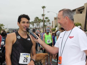First place finisher Dusty Solis, of Rancho Cucamonga, shares his race experience. The short distance challenges runners to push themselves throughout the race. Photo by Promise Yee