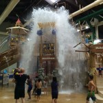 Visitors at the Great Wolf Lodge waterpark get deluged with a thousand gallons of water from the giant bucket at the top of Fort Mackenzie. The dump comes every four minutes. The multi-level tree house/water fort combines suspension bridges, treetop slides, swinging cargo nets and spray stations. Photo by E'Louise Ondash