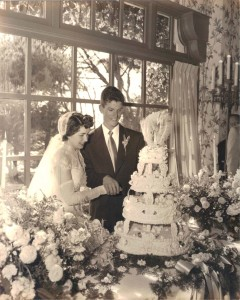 Jim and Jane King cut the cake during their wedding reception at the old Del Mar Hotel in 1951. The Solana Beach couple will celebrate their 65th anniversary on April 29. Courtesy photo