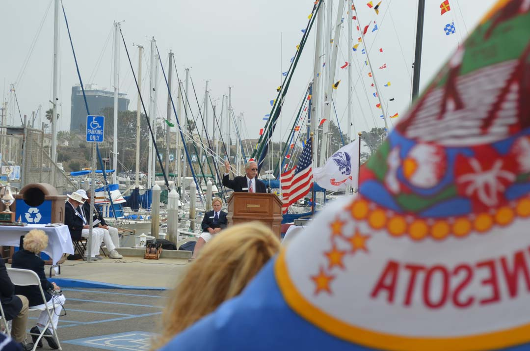 David Albert gives the invocation during the Opening Day ceremony of the Oceanside Yacht Club. Photo by Tony Cagala