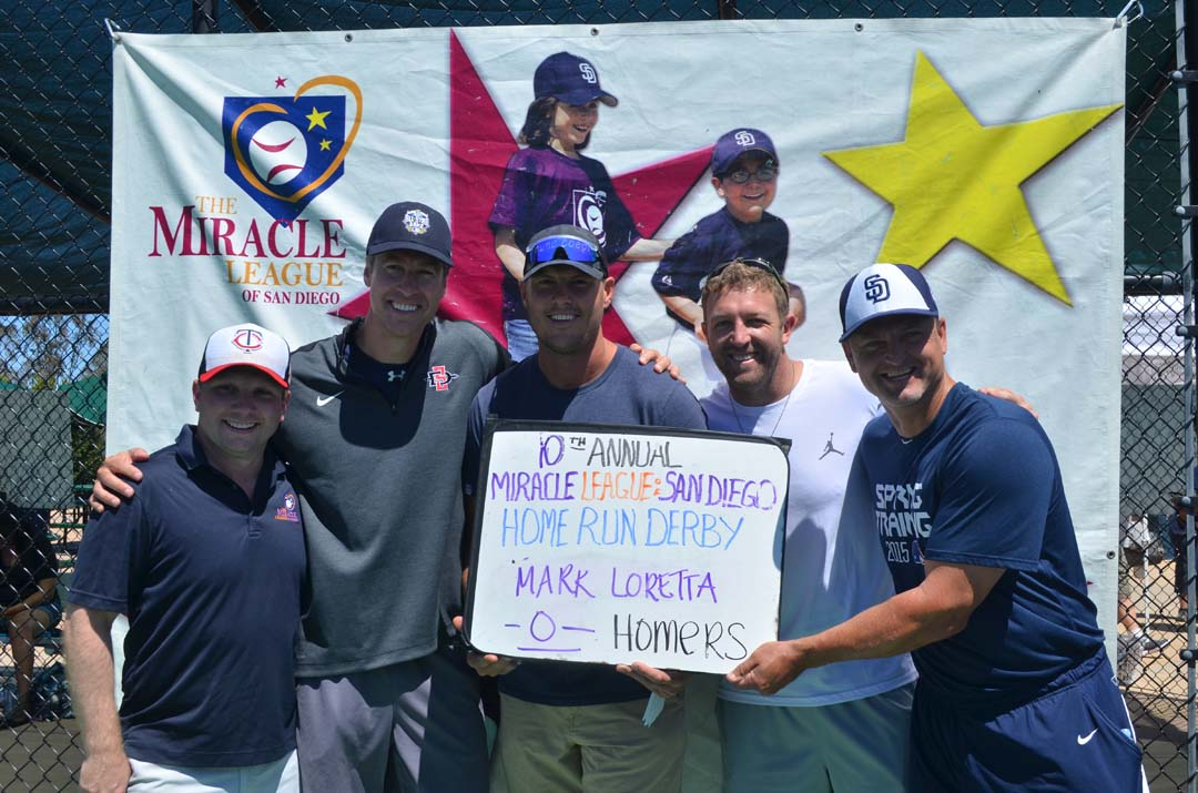 The celebrity heat of the 10th annual Miracle League of San Diego competitors from left: Kenny Blattenbauer, president of the Miracle League of San Diego, former MLB pitcher Bob Scanlan, San Diego Chargers quarterback Philip Rivers, San Diego Chargers back up quarterback Kellen Clemens and former San Diego Padres closer Trevor Hoffman. Photo by Tony Cagala