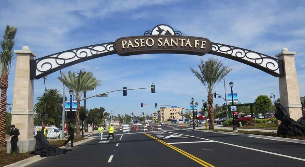 The Paseo Santa Fe arch completes the first phase of downtown Vista improvements. The city hopes to completely revitalize the downtown area. Photo courtesy the city of Vista